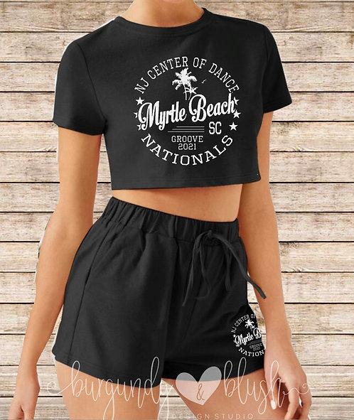 Women's Cropped T-Shirt & Shorts Set