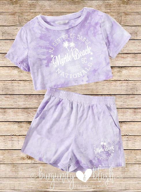Girls Tie Dye Cropped T-Shirt & Shorts Set