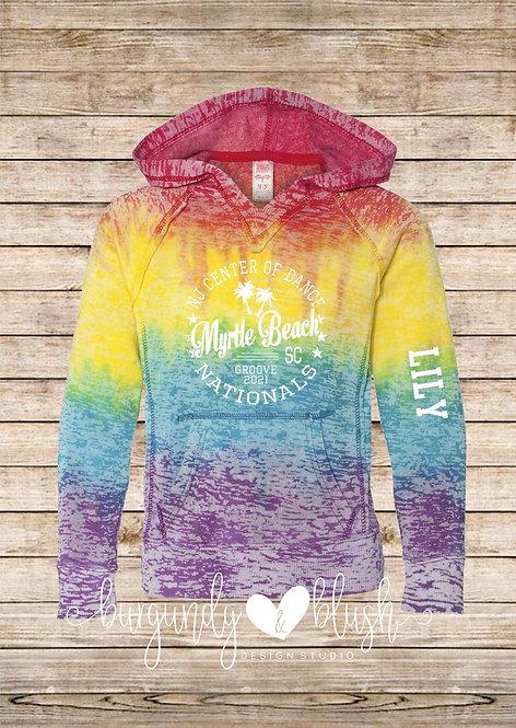 Burnout Tie Dye NJCOD Nationals Hooded Sweatshirt