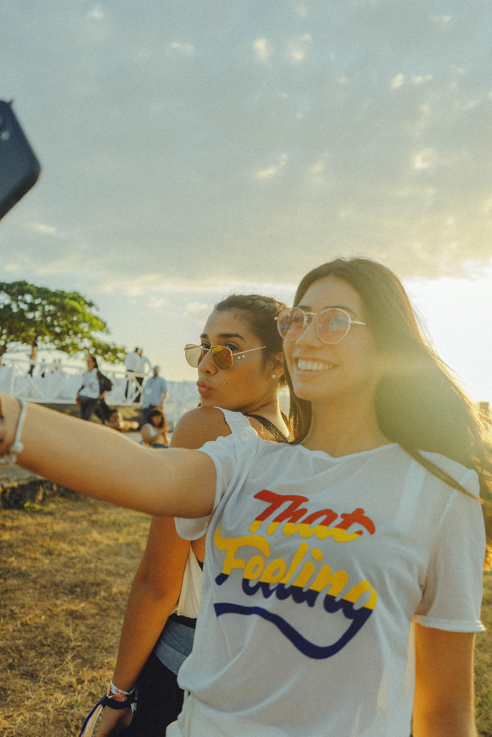 Two Young Women at the beach taking a selfie