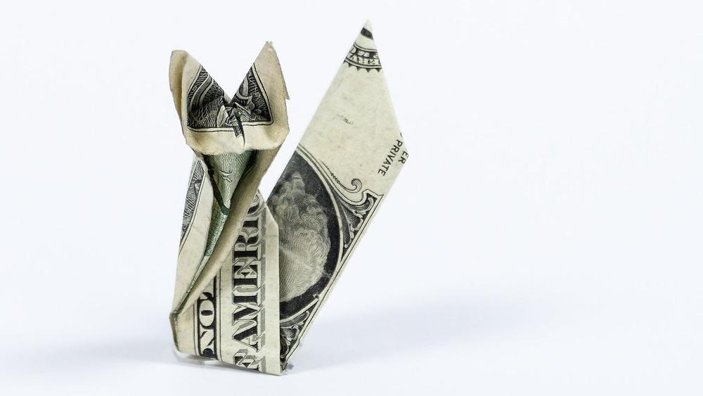 Origami American One Dollar Bill as a Fox