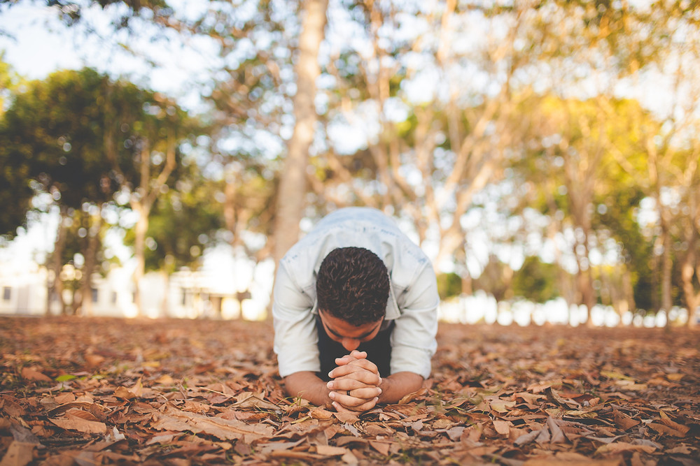 Man Praying in Nature on a pile of leaves