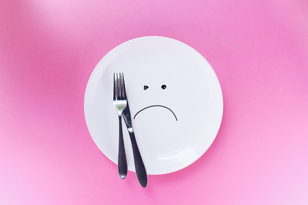 Plate with a frown written on it and fork and butter knife on it