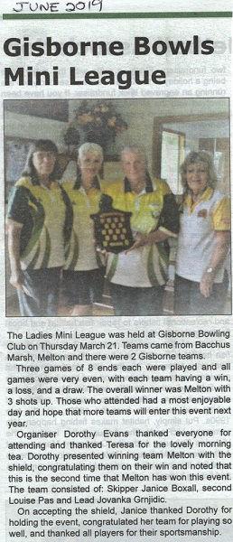 Gazette June 2019 re Ladies mini league.