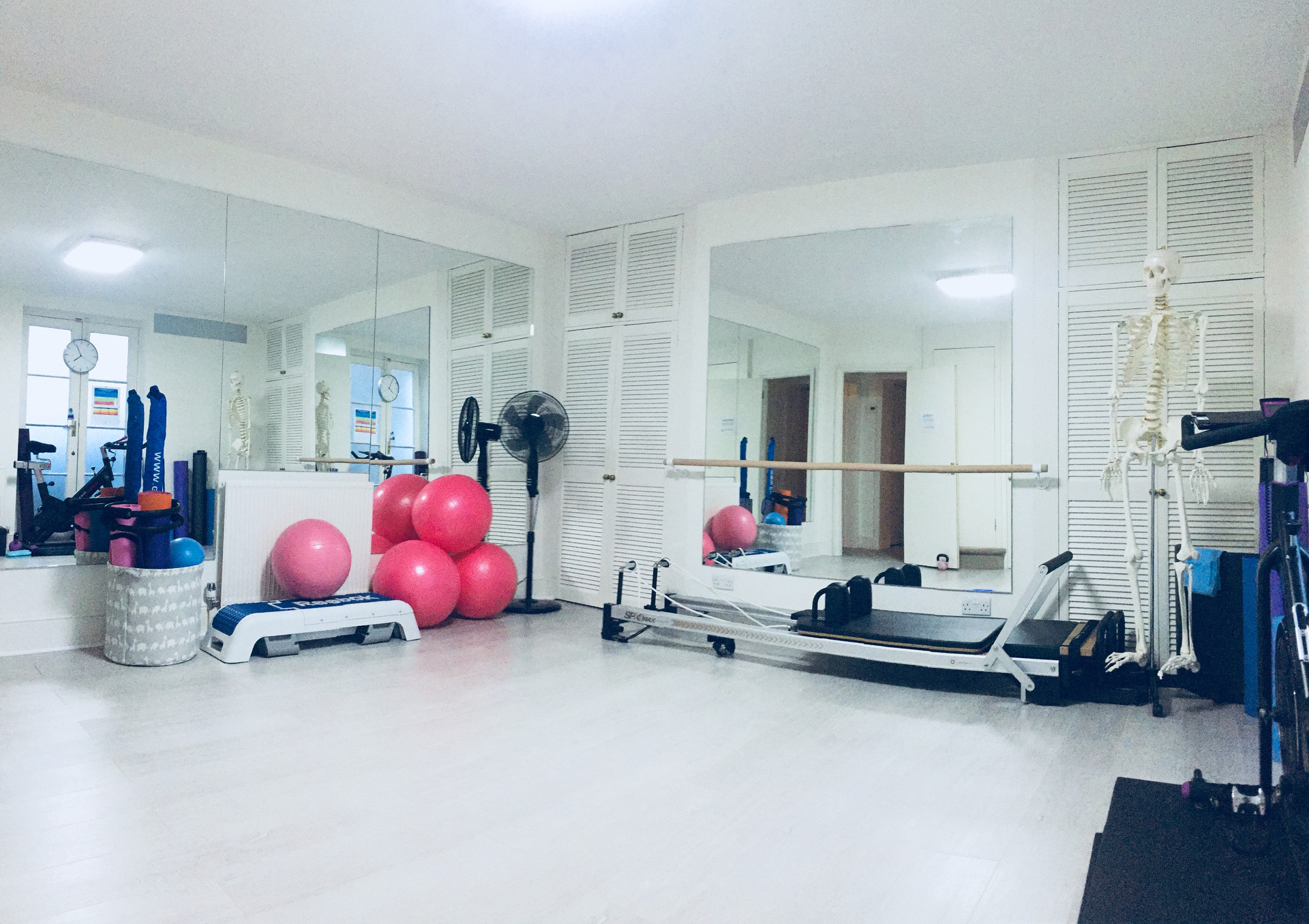 A barre and mirrors for good body posture.
