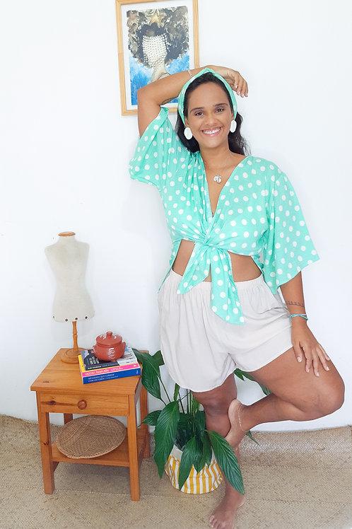 Kimono Midi Poá Verd'água