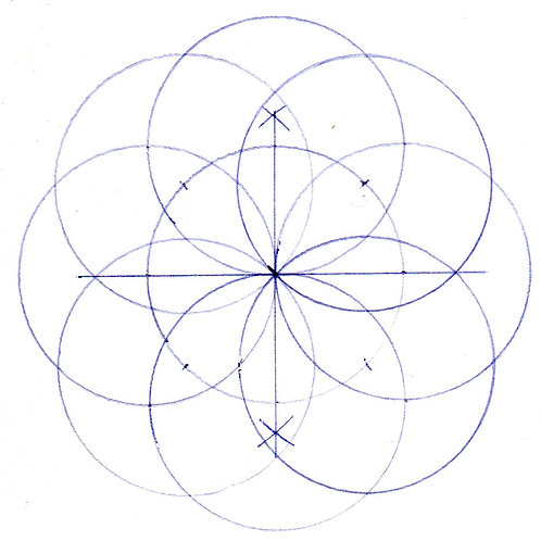 How to draw a four and eight petalled flower using geometry