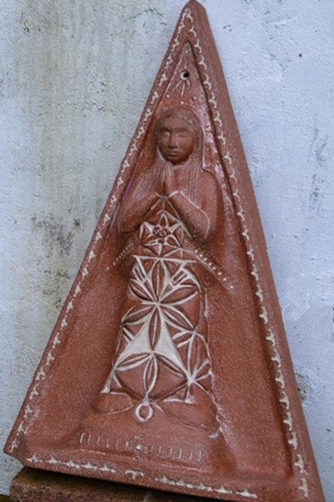 'Prayer Goddess' Terracotta Ceramic Plaque