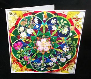Wild Roses mandala greetings card