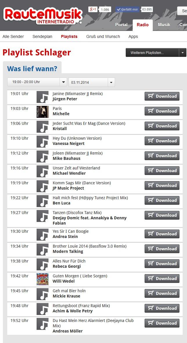 Raute FM Playlist Komm sags mir.jpg