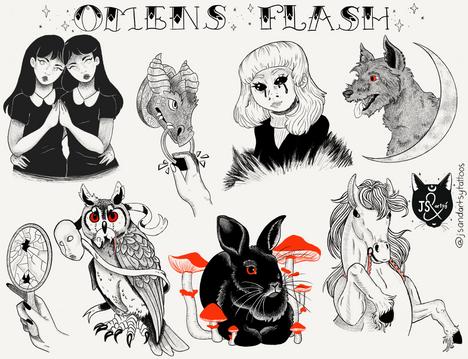 Omens Tattoo Flash