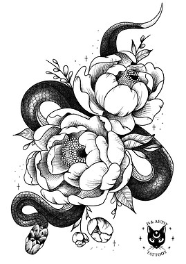Snake amongst the Peonies
