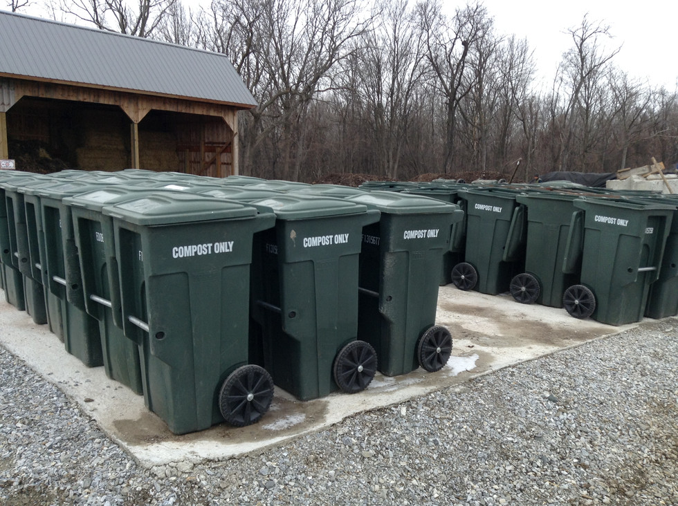Food waste bins at the Leaf Drop site.  These contain waste from schools and area businesses.