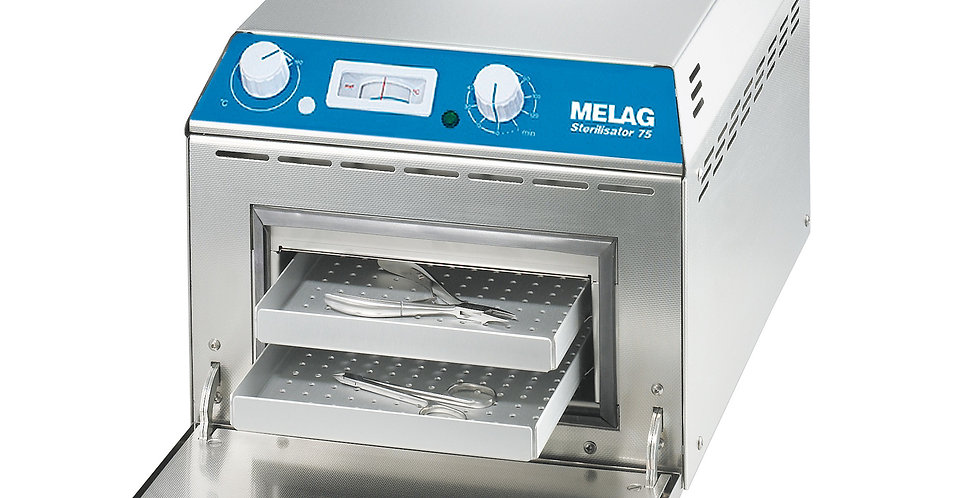 MELAG hot air sterilizer type 75 with 2 trays