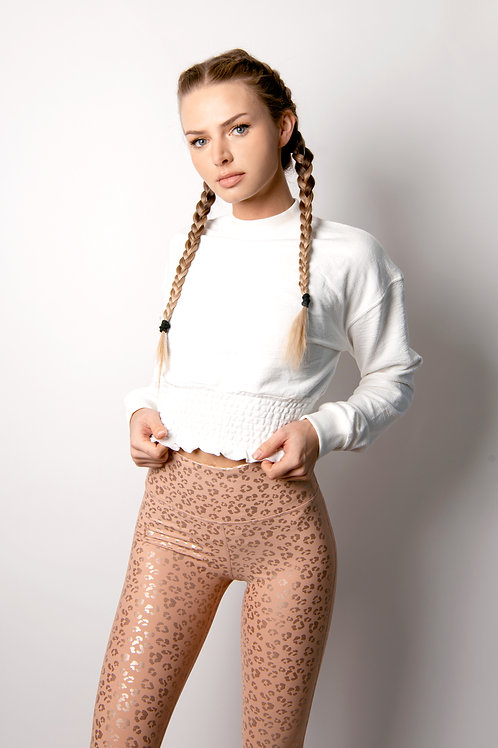 Cropped Pullover with Shirring