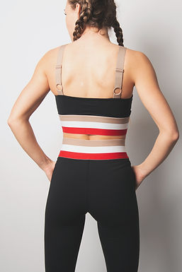 Cherry Irish Coffee Tricolor Band Adjustable Strap Sports Bra