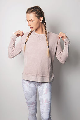Cotton Waffle Mineral-Washed Pullover