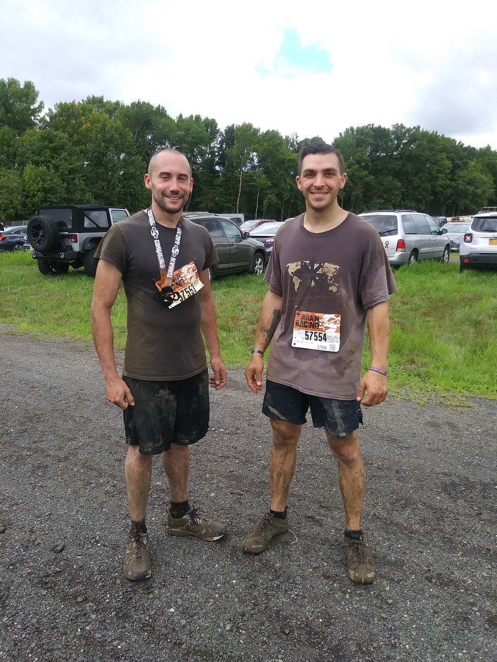 After finishing the Terrain Racing 5K obstacle course.