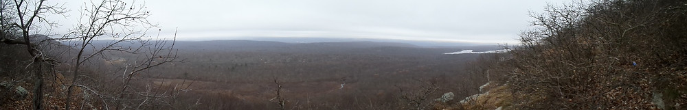 The view from the Appalachian Trail near Raccoon Ridge on a foggy, overcast day.