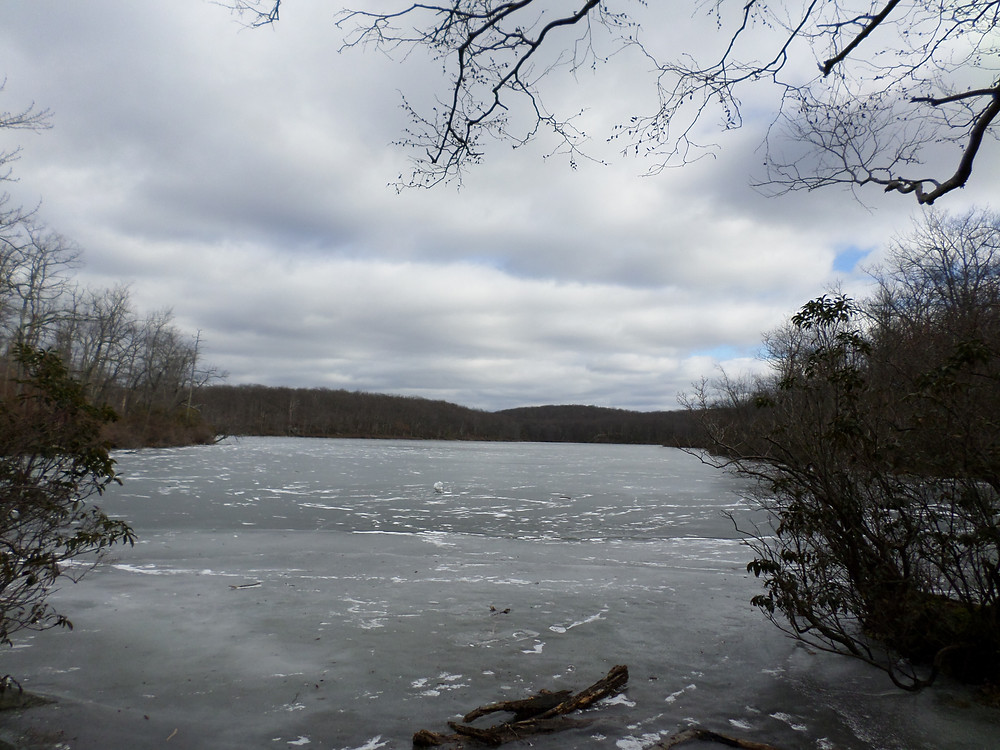 Sunfish Pond frozen over.