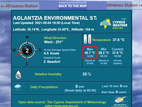 ⚠ Γιατί είχαμε 45.7°C μέγιστη σήμερα Τετάρτη 04/08/21; Δείτε τις 5 υψηλότερες επίσημες καταγραφές...