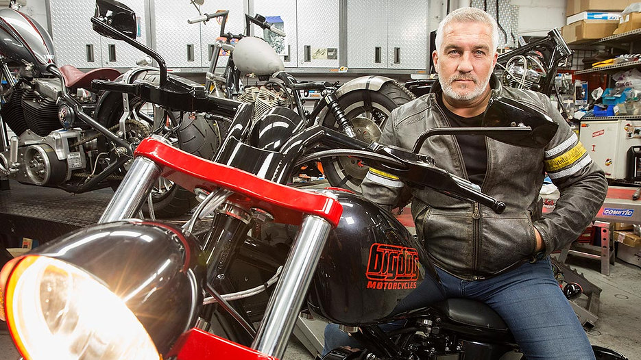 Paul Hollywood on a motor bike