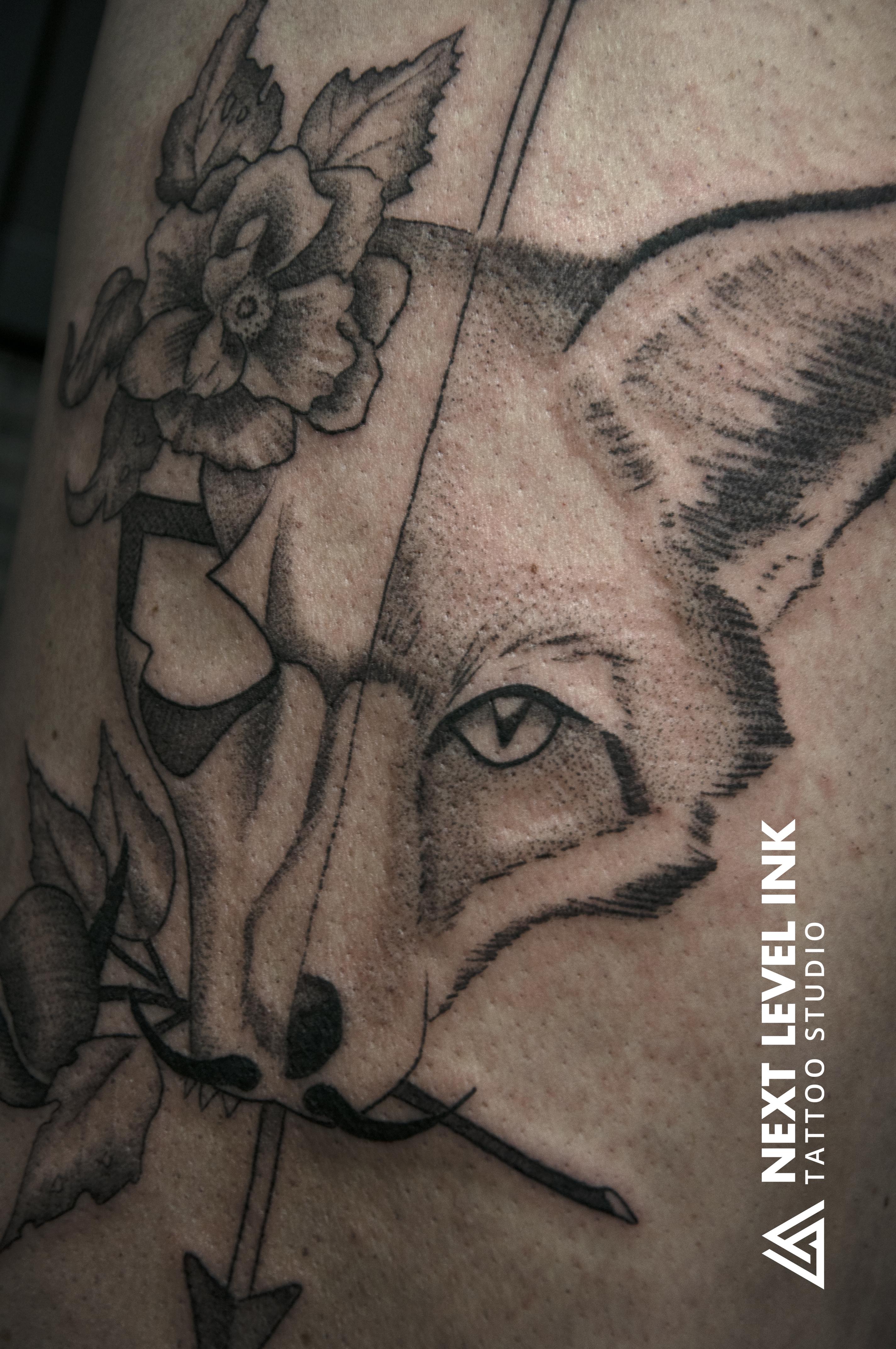 Fox, skull, arrow, rose
