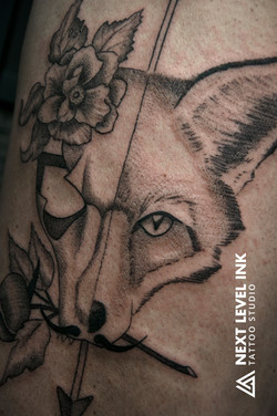 Fox, skull, arrow, rose