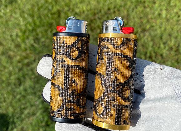 Custom lighter case in gold or black all handsewn