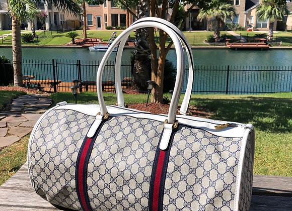 $1300 Extemely clean large Gucci duffle 50 (white/blue)