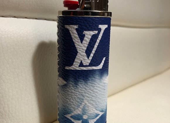 $160 Custom lighter case made from Authentic Escale (blue fade)