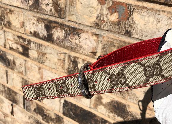 Custom dog collar made with snake buckles