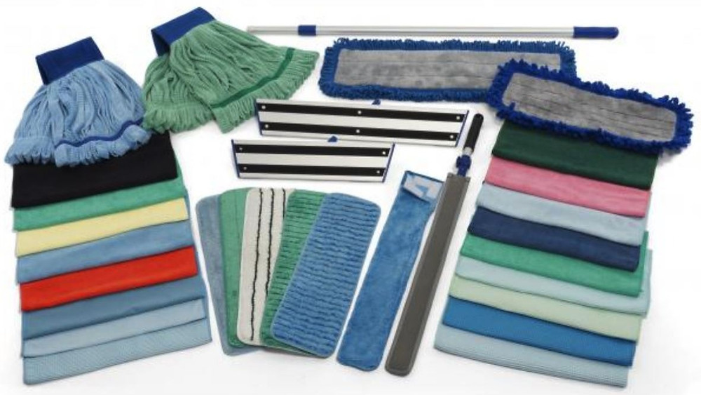 Microfiber cleaning products, mop heads, cloths, dusters