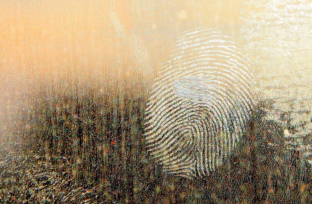 Fingerprints on glass