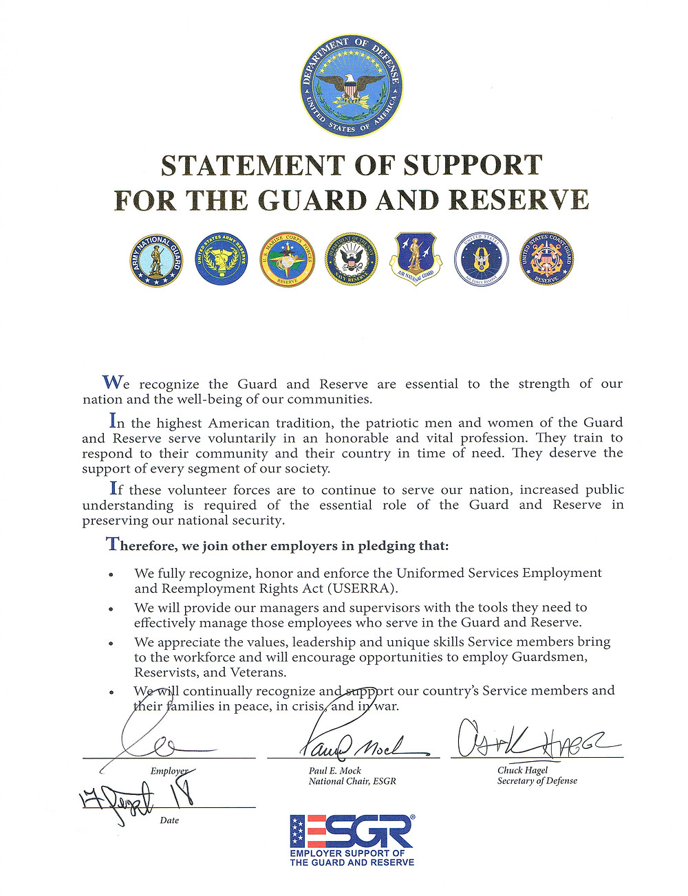 RBG Janitorial Employer Support of the Guard and Reserves Certificate
