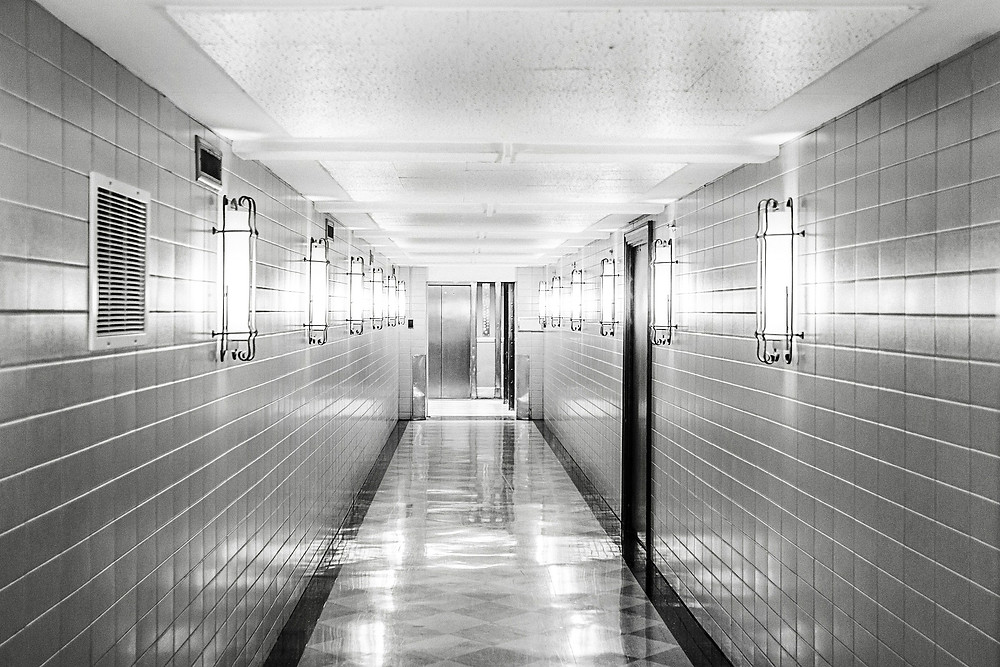 A clean tiled hallway