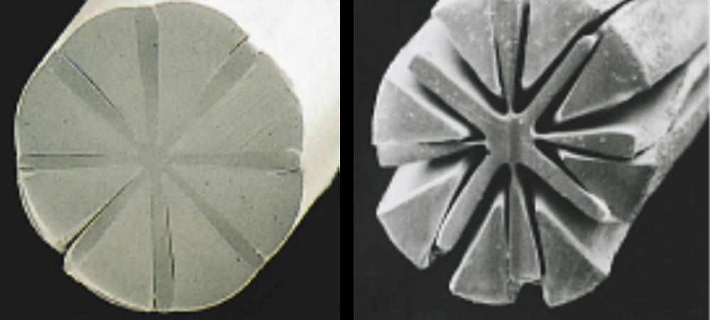 Microscopic view of microfiber strands