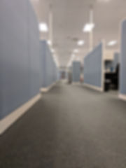 Corridor of office cubicles