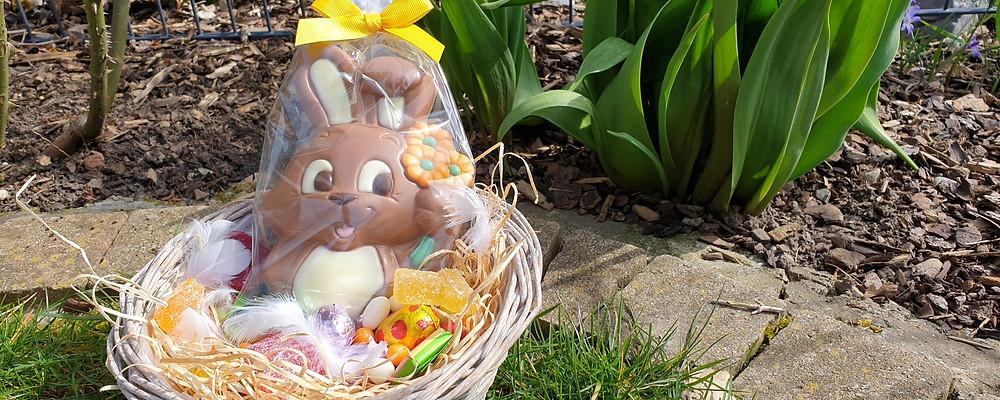Schokolade, Osterhase, Ostern, Blumen, Blumenladen, Frühling, Frühlingsblumen, Tulpen, Osterglocken, Narzissen, Hyazinthen