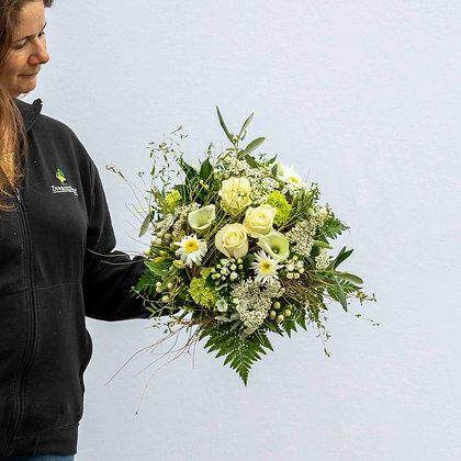 Blumenstrauss rund gebunden weisston Gr. L