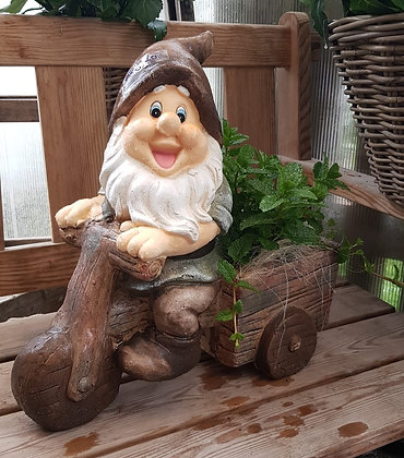 Gartenzwerg mit Velo