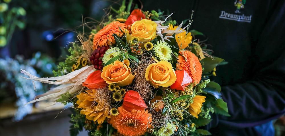 Blumenstrauss, Herbst, Maiskolben, Physalis, Sonnenblumen, Gerbera