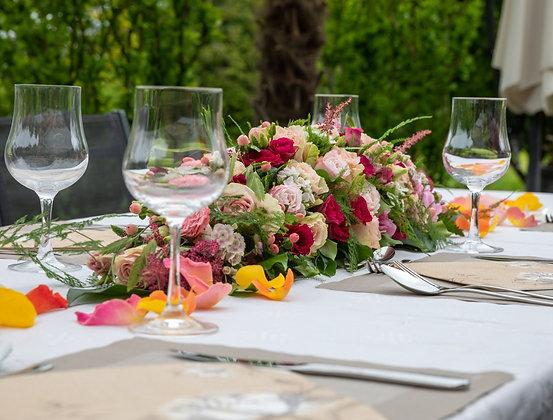 Tischdeko Gesteck rosa