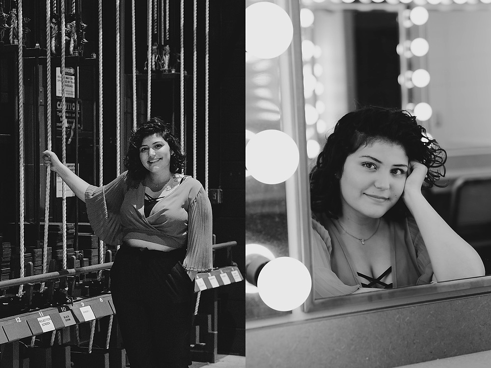senior girl in dressing room and in theater