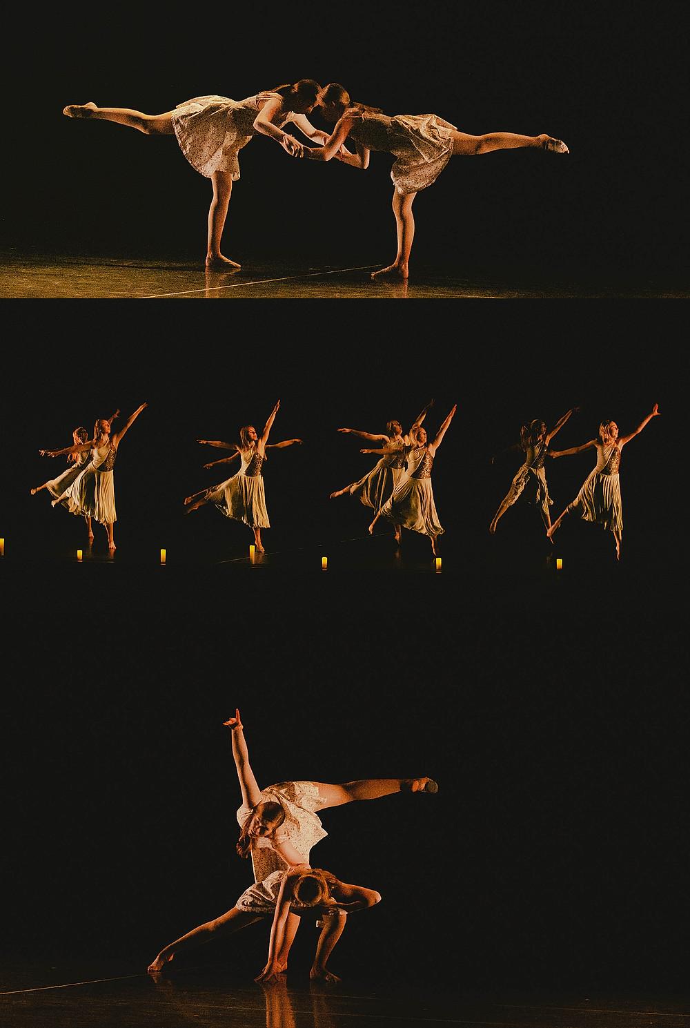 group of girl dancers preforming in a dance recital