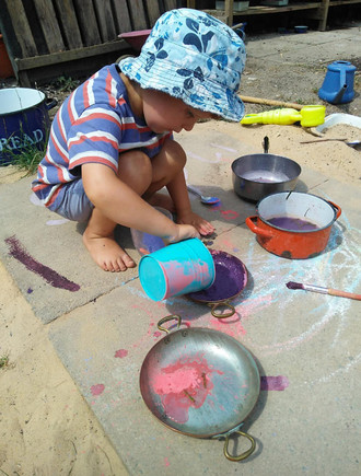 Painting with chalks outside