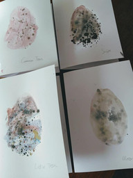 Painting Easter egg cards from pictures of real eggs