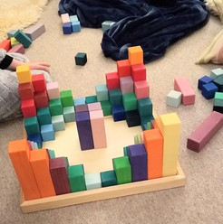 Playing with bricks inside
