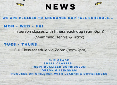 Fall Schedule...Just released!