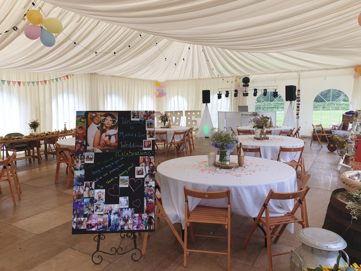 White setup in a marquee